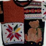 """手編みニット""""テディベア柄のセーター""""は母のハンドメイド♪"""